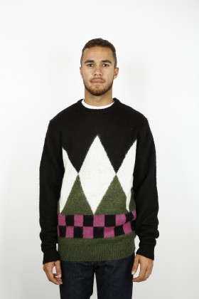 STUSSY DIAMOND CHECK MOHAIR SWEATER